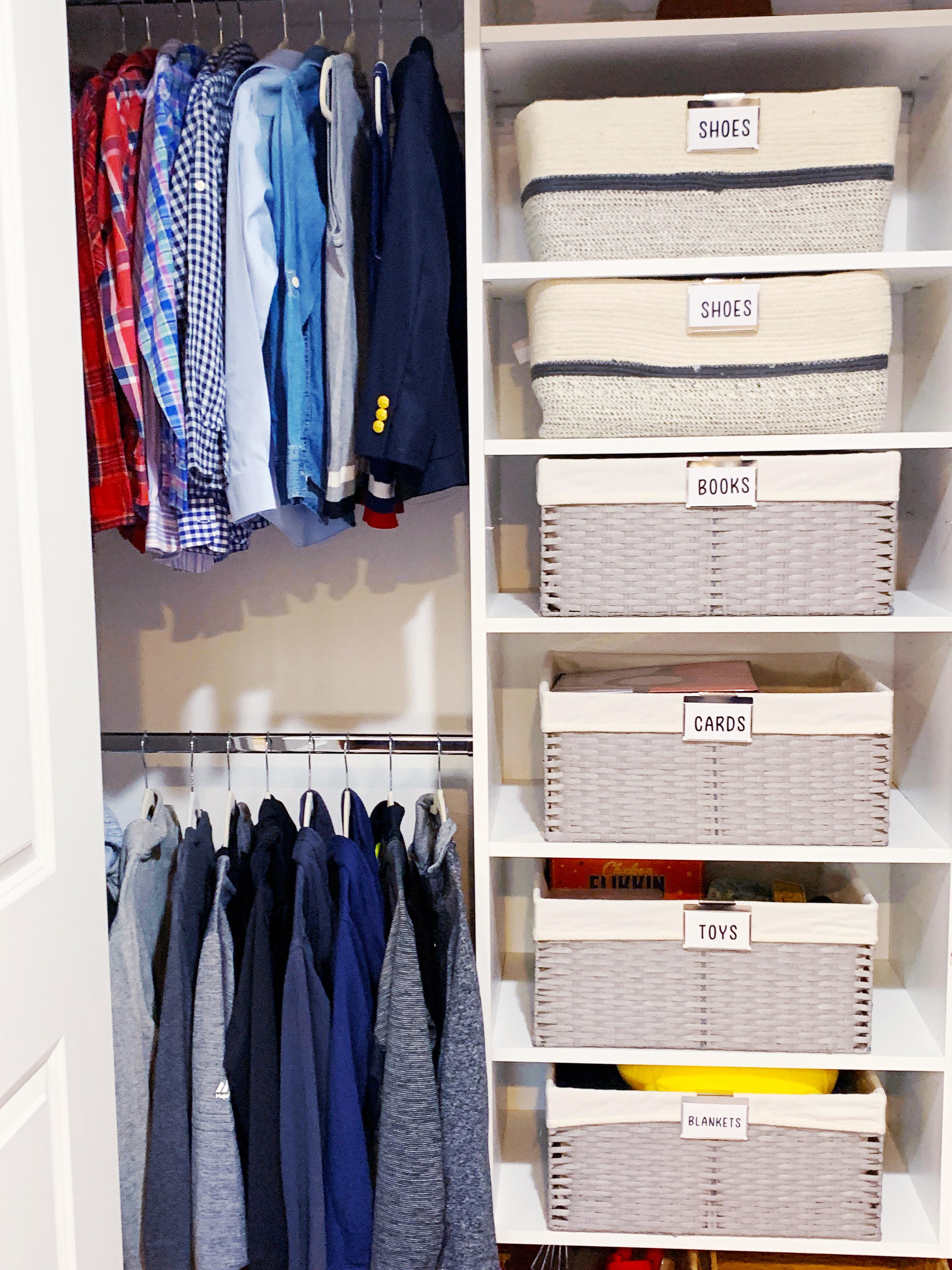 Matching bins are best when organized vertically
