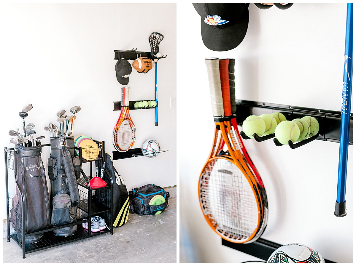 Two images of garage organizers with sporting equipment stored on them.