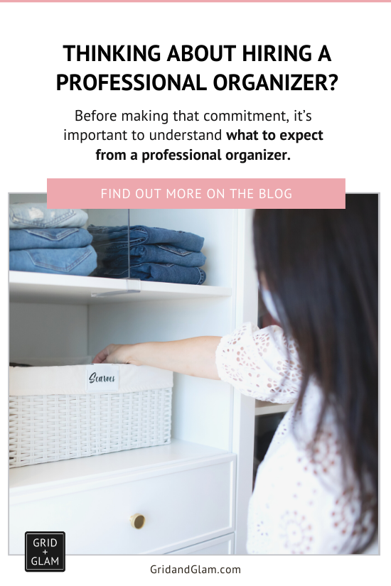 Graphic for Pinterest with a photo of a professional organizer and the title, 'What does a professional organizer do?'