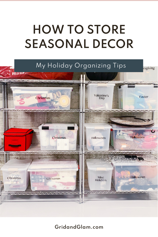 Graphic with a photo of shelves with Christmas bins titled, 'How to Store Your Seasonal Decor.'