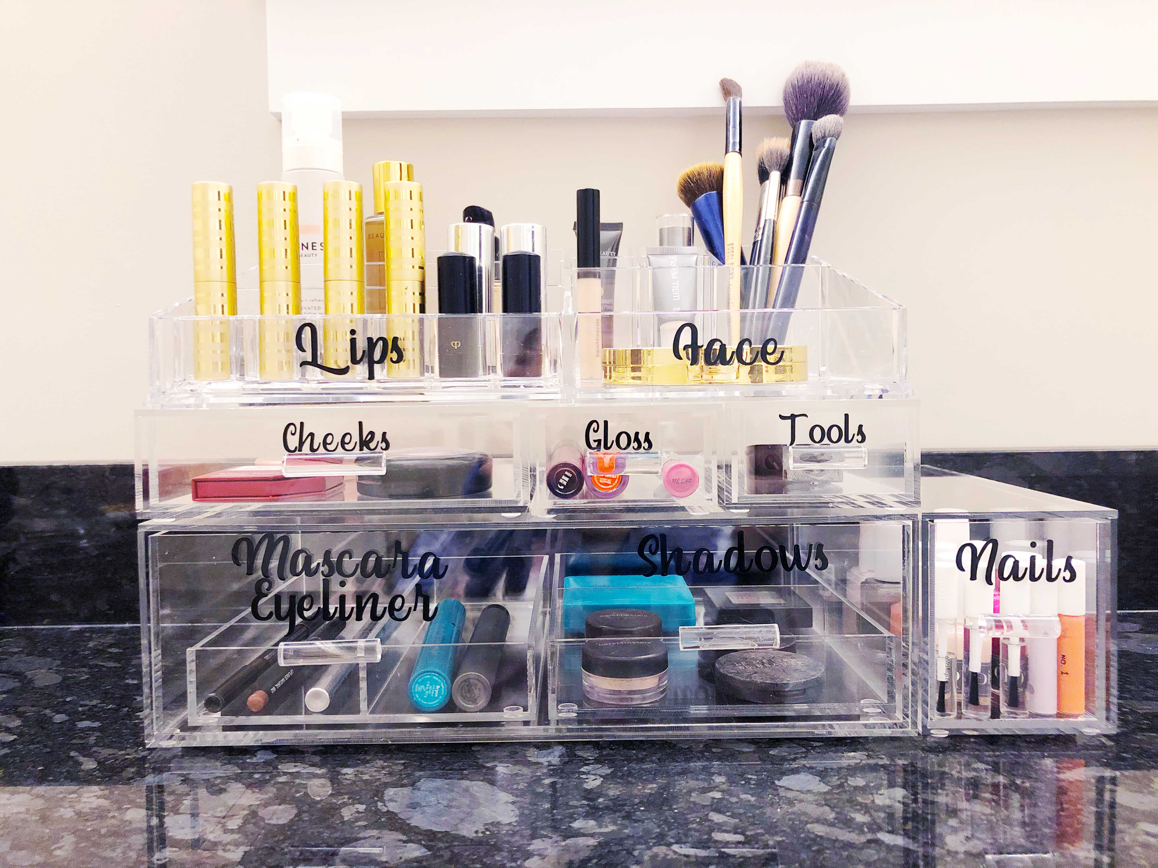 Makeup organizer from the Container Store, used here to organize someone's entire makeup collection.