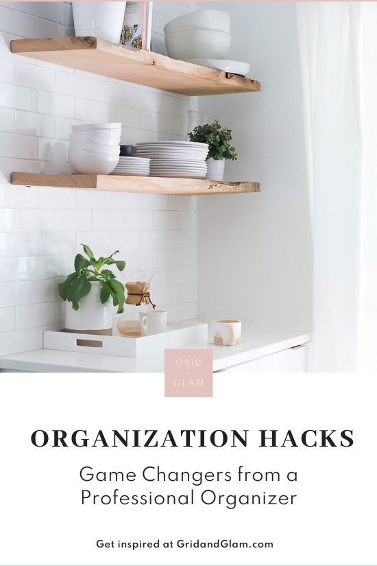 Graphic with a photo of neatly organized shelves and the title, 'Organization Hacks.'