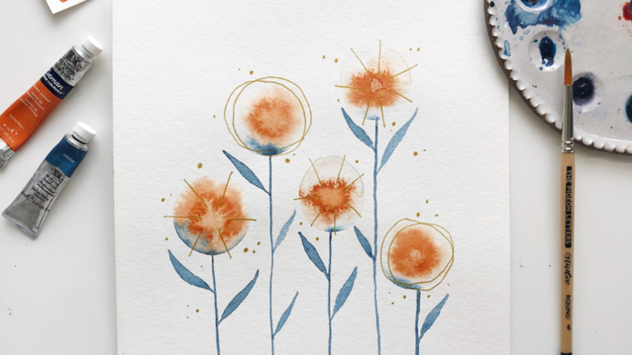 Watercolor Abstract Floral Tutorial