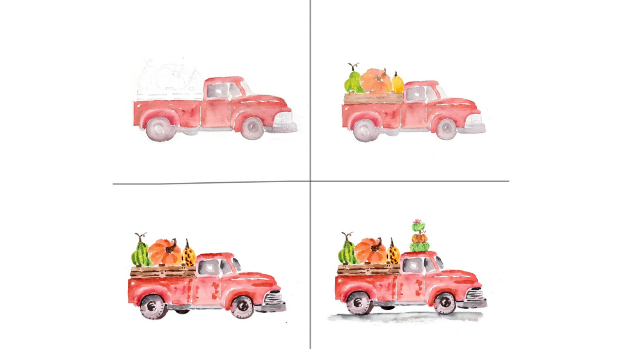How to Watercolor Vintage Truck