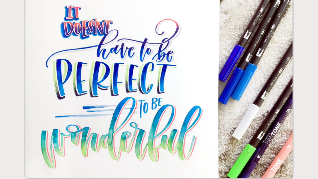 hand lettering quote ombre