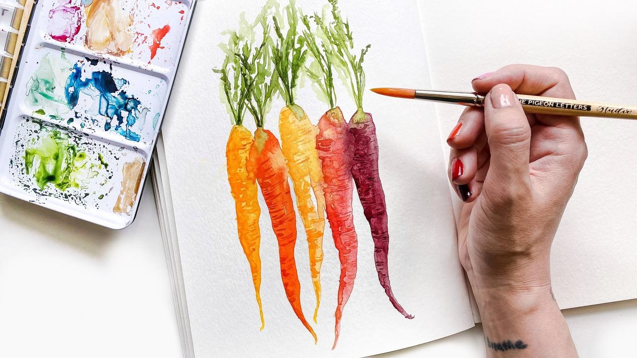 Learn to Paint Watercolor Veggies