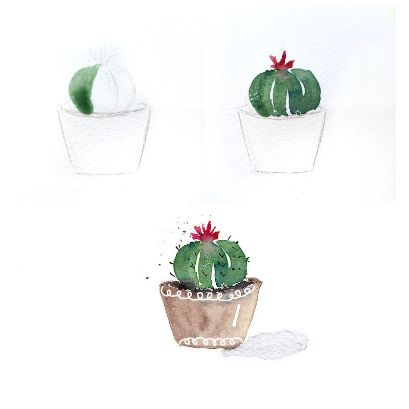 Paint 4 Easy Cacti Using Watercolor