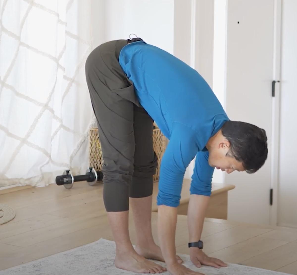 flexible man touching the floor