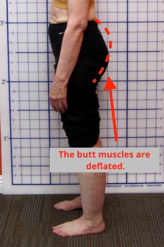 flat butt weak glutes example