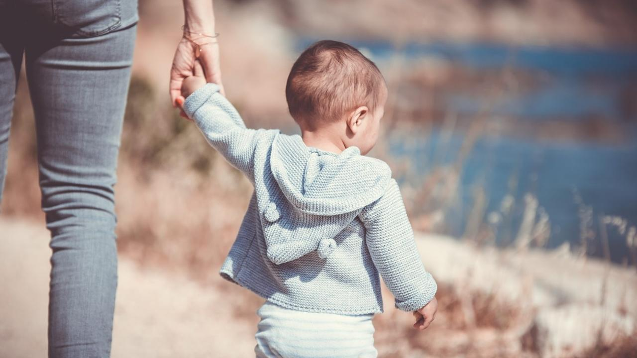 Toddler holding hand on a nature trail by lake.