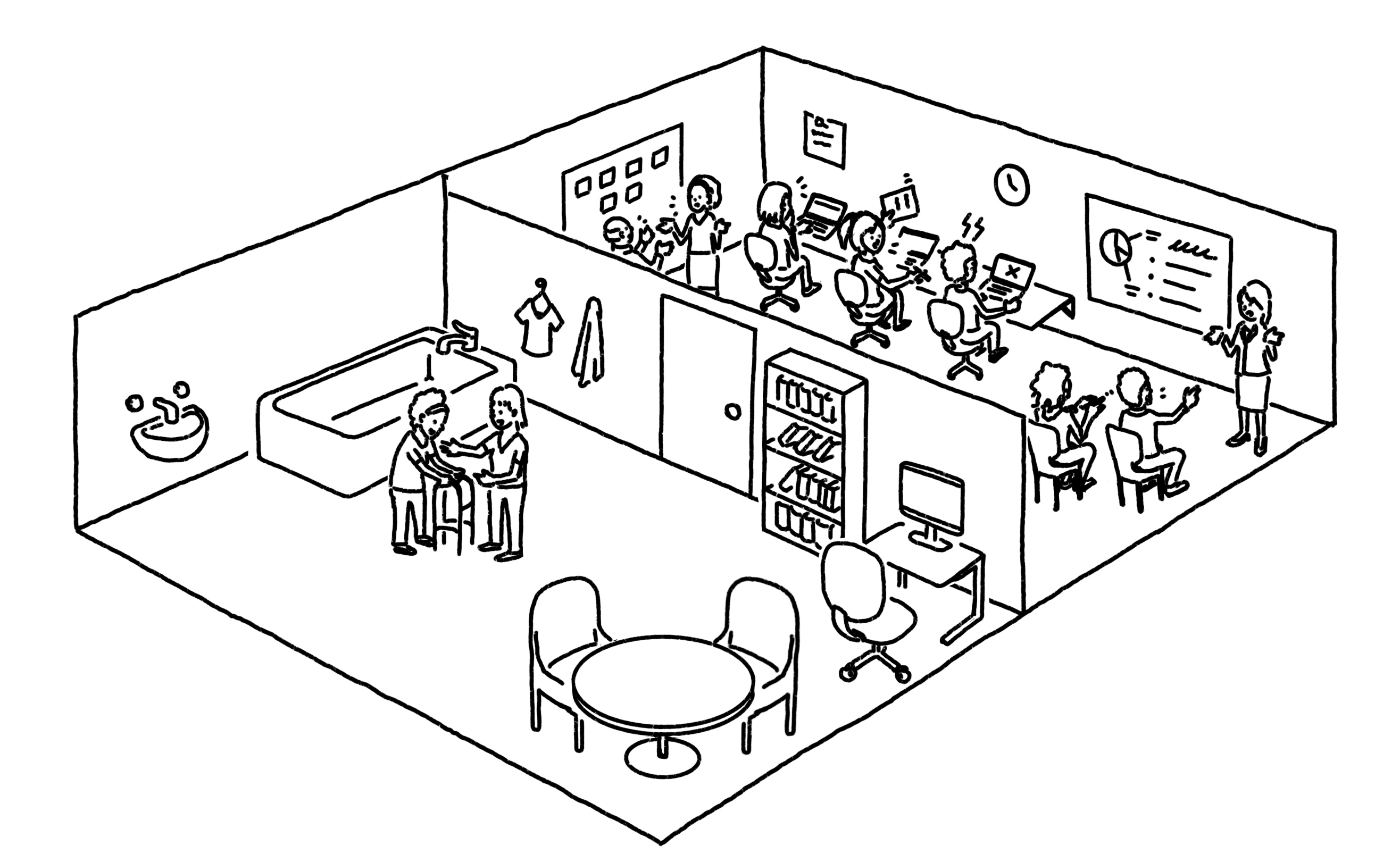 Illustration of a business with a front-room that serves a home care customer, and a back-room where the business operates.