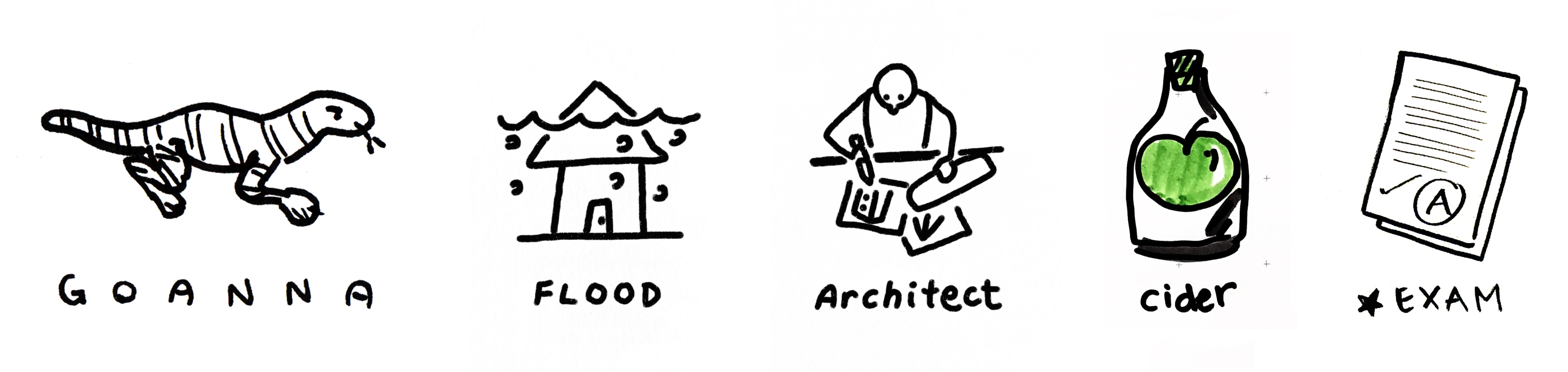Drawings of a goanna, flood, architect, cider and exam