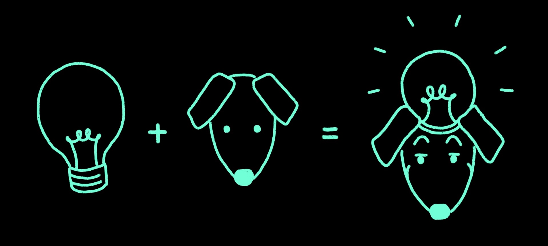 A hand-drawn light bulb added to a dog, which together become an idea dog