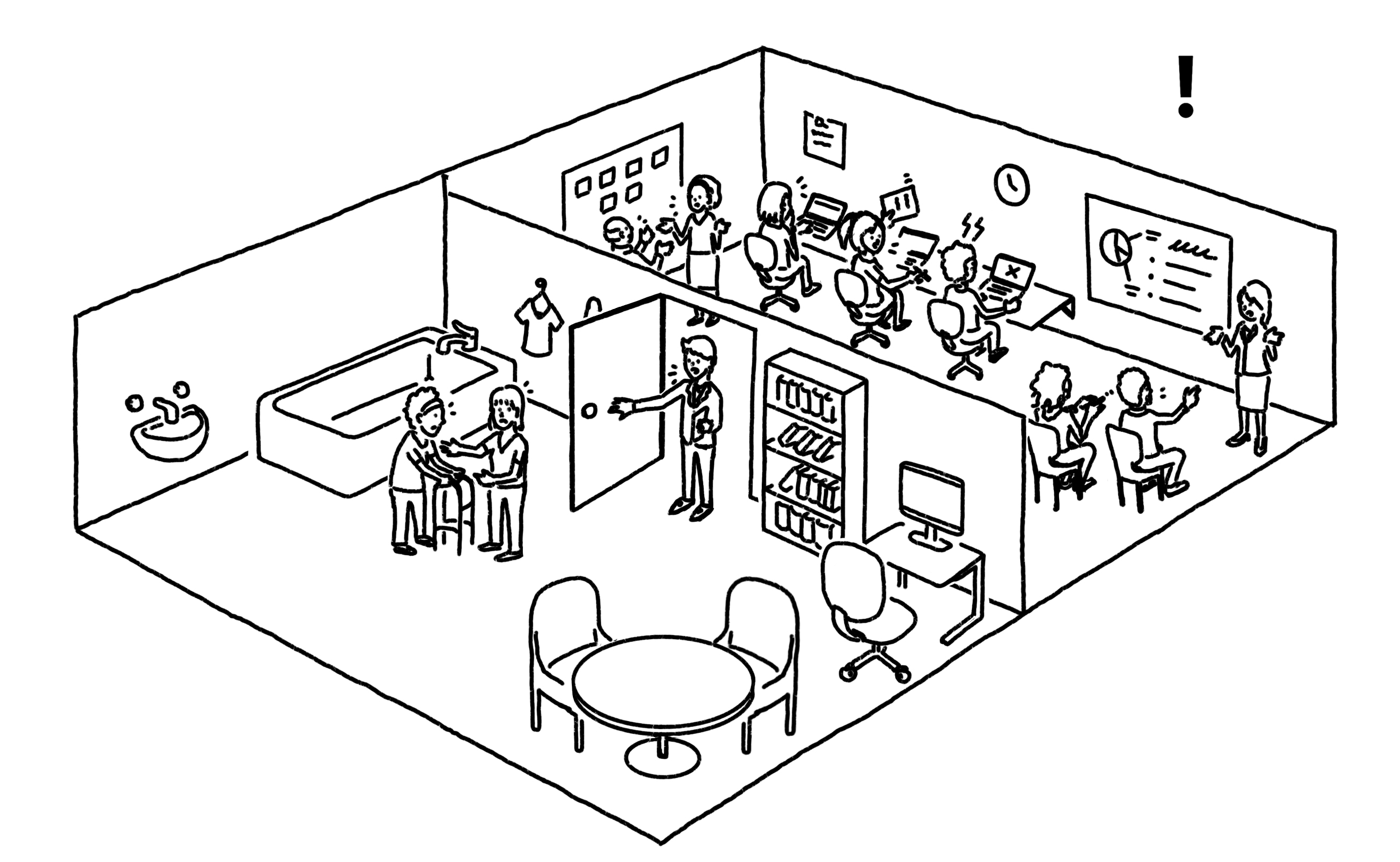 Similar to previous image but with an exclamation mark. Illustration is of a business with a front-room that serves a home care customer, and a back-room where the business operates.