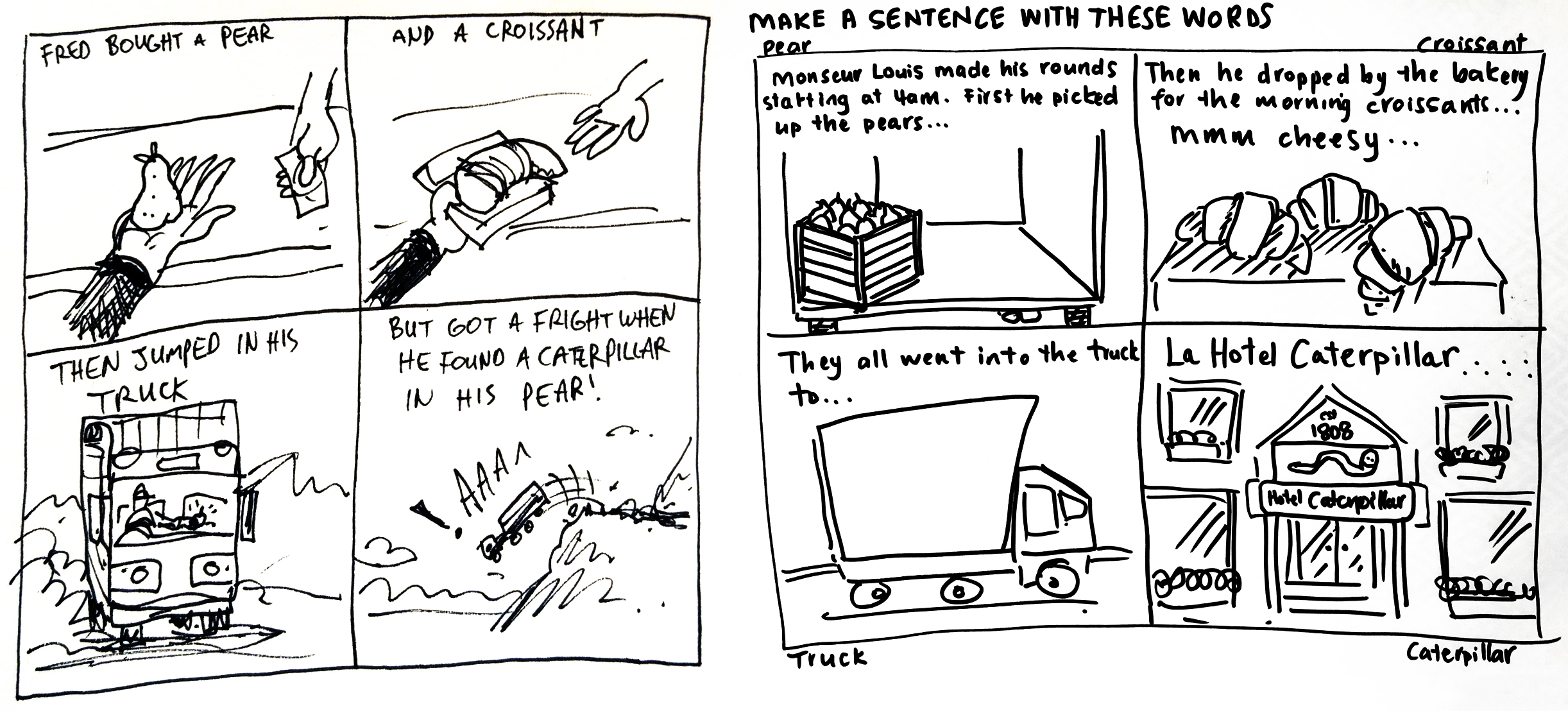 Two hand-drawn examples of storystorming that include the words pear, croissant, truck and caterpillar