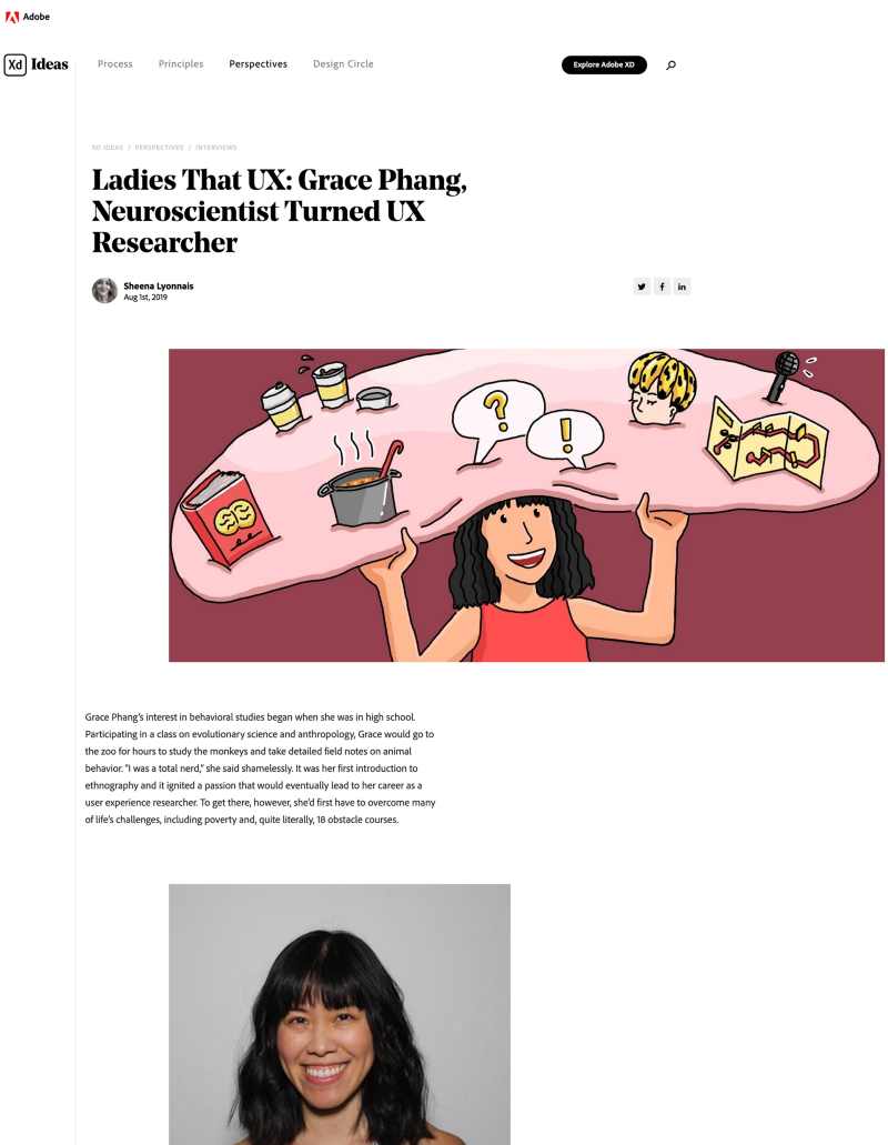 Screenshot of Adobe blog article titled 'Ladies that UX: Grace Phang, neuroscientist turned UX researcher' by Sheena Lyonnais