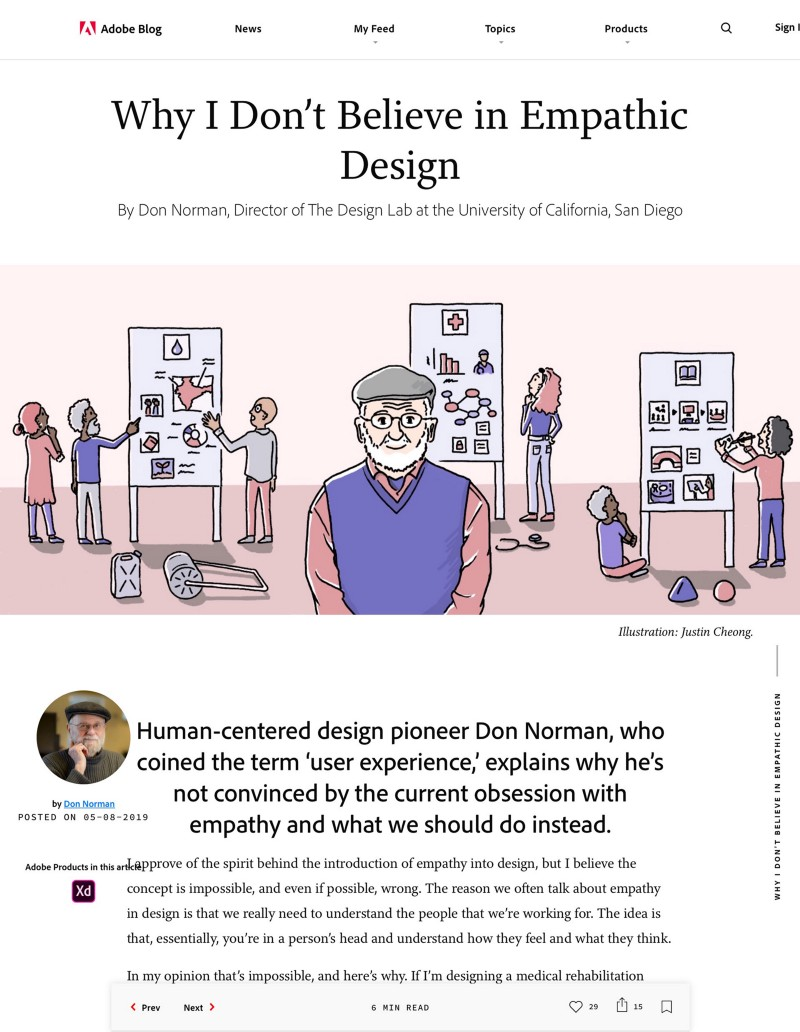 Screenshot of Adobe blog article titled 'Why I don't believe in empathic design' written by Don Norman
