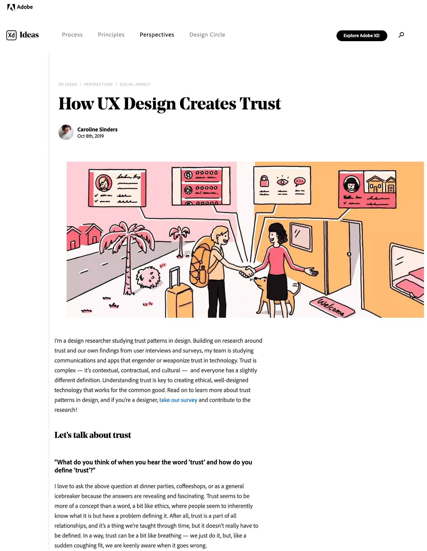 Screenshot of Adobe blog article titled 'How UX Design Creates Trust' written by Caroline Sinders