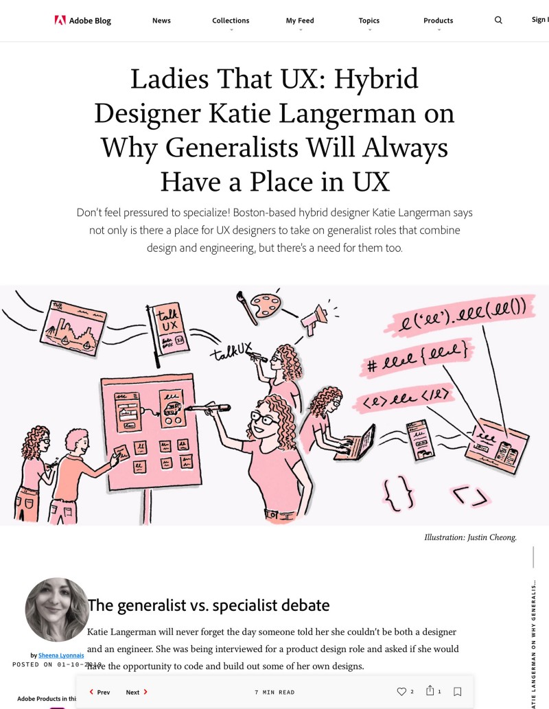 Screenshot of Adobe blog article Ladies that UX: Hybrid designer Katie Langerman on why generalists will always have a place