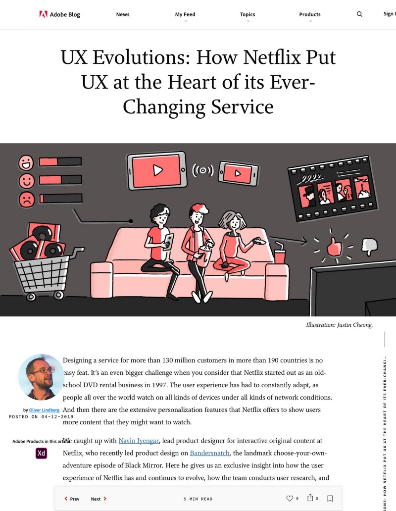 Screenshot of Adobe blog article 'UX evolutions: How Netflix put UX at the heart of its ever changing service' by Oliver Lindberg