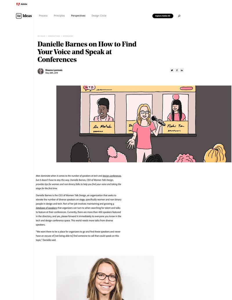 Screenshot of Adobe blog article 'Ladies that UX: Danielle Barnes on how to find your voice and speak at conferences'