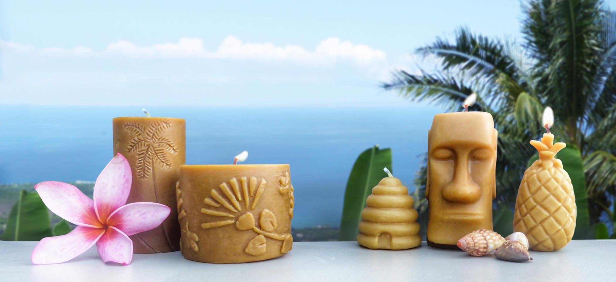 handmade beeswax cnadles from hawaii
