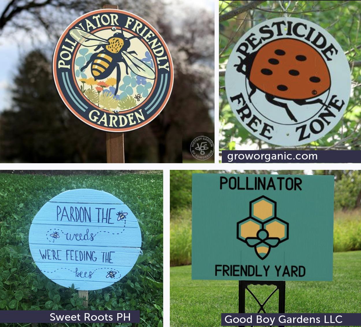 cute pollinator garden signs