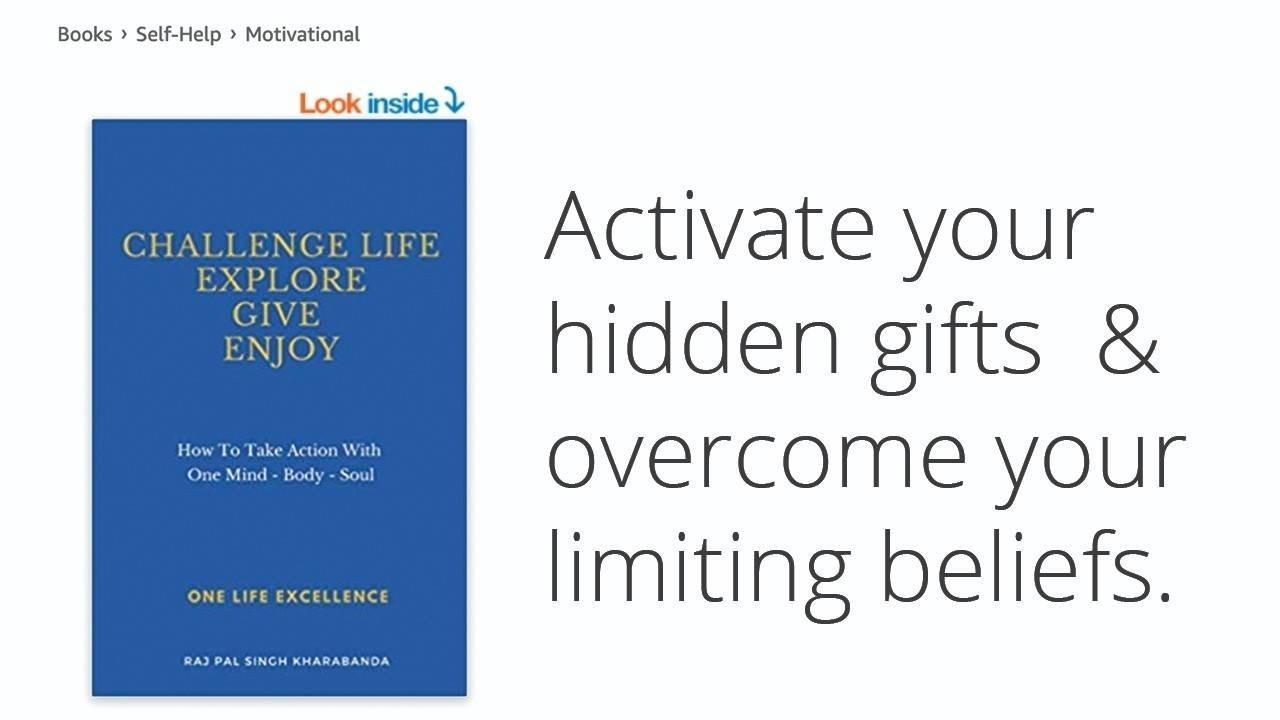 kharabanda, book, challenge life, explore, give, enjoy