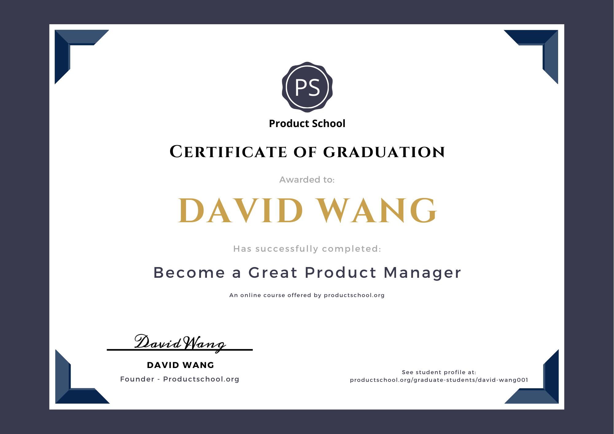 Product School Student Profile David Wang