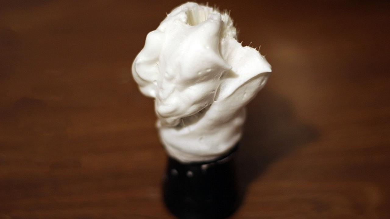 wet shave soap on a brush