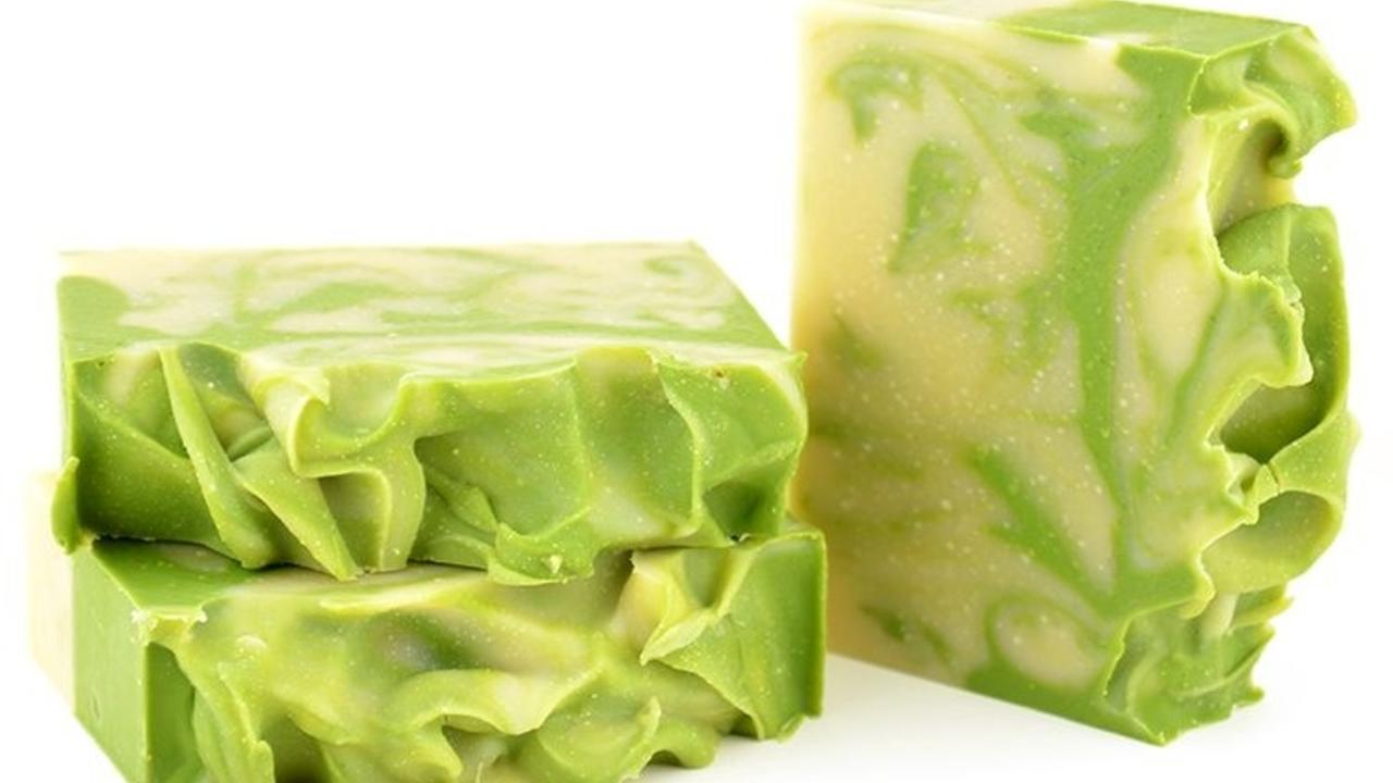Three bars of avocado and argan soap