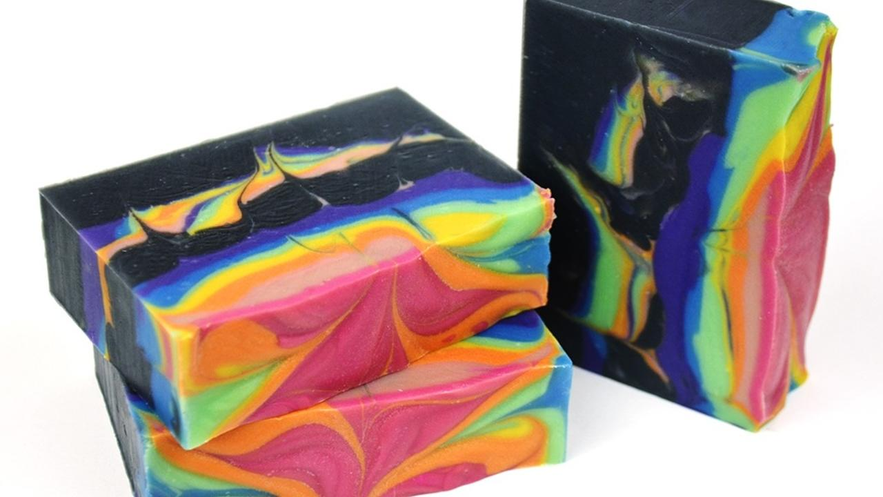 three bars of rainbow hangar swirl soap