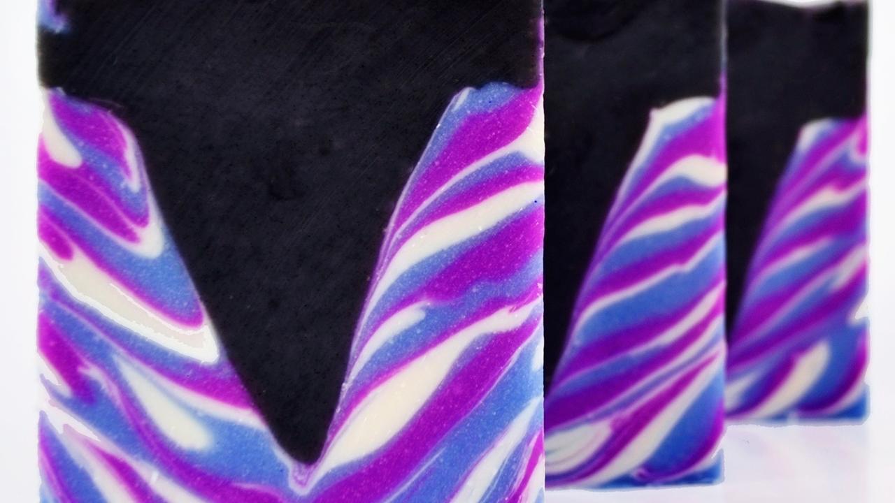 three bars of lavender and cedar tiger stripe soap