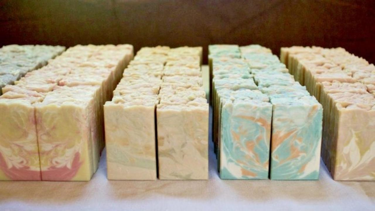 rows of hot process soap