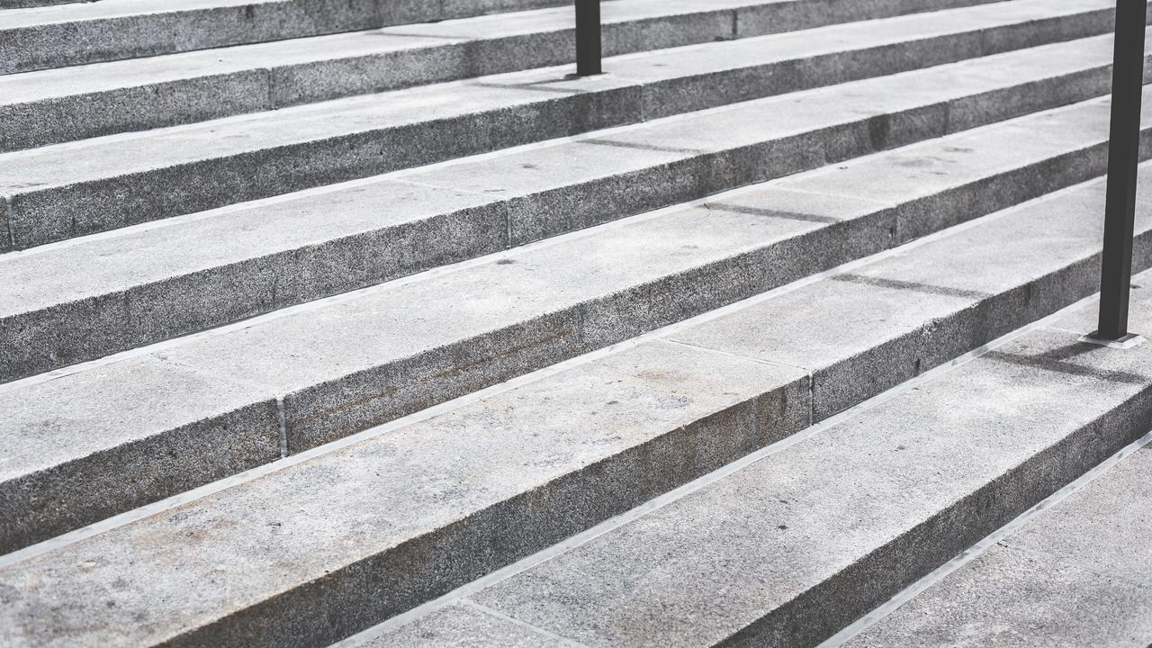 gray concrete steps