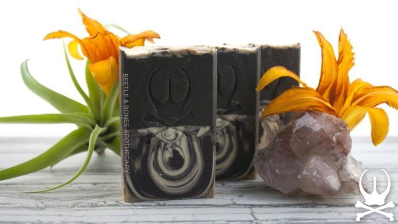 three bars of espresso almond soap