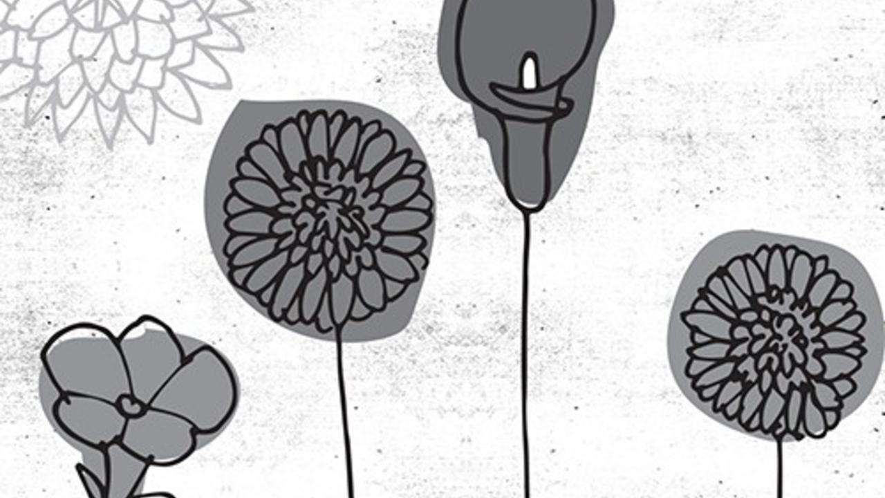 Illustration of black flowers