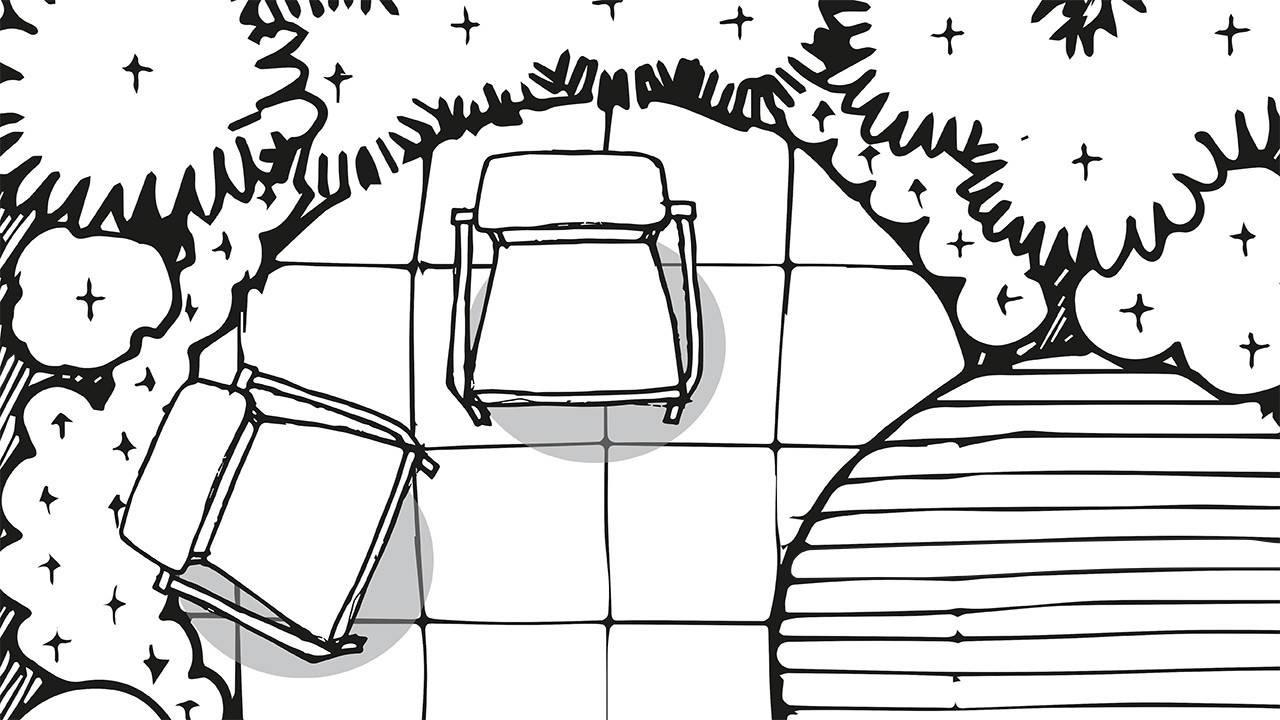 ink drawing of outdoor seating area