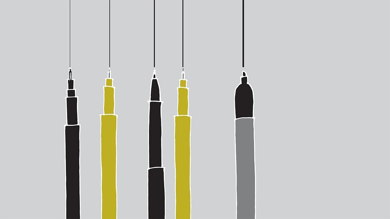 illustrations of pens drawing different line weights