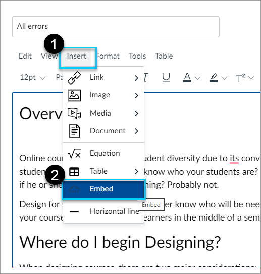 Ensure you are in edit mode and select Insert and then embed