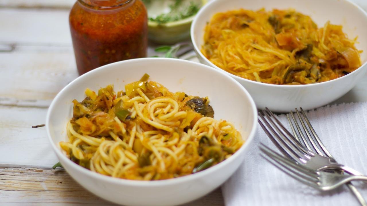 Roasted Spaghetti Squash with Leek, Mushroom & Sage