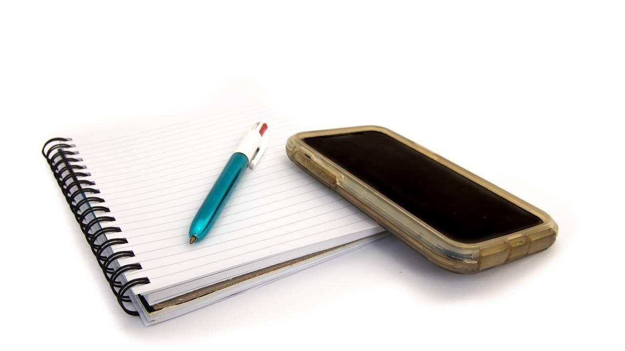 iPhone and note book