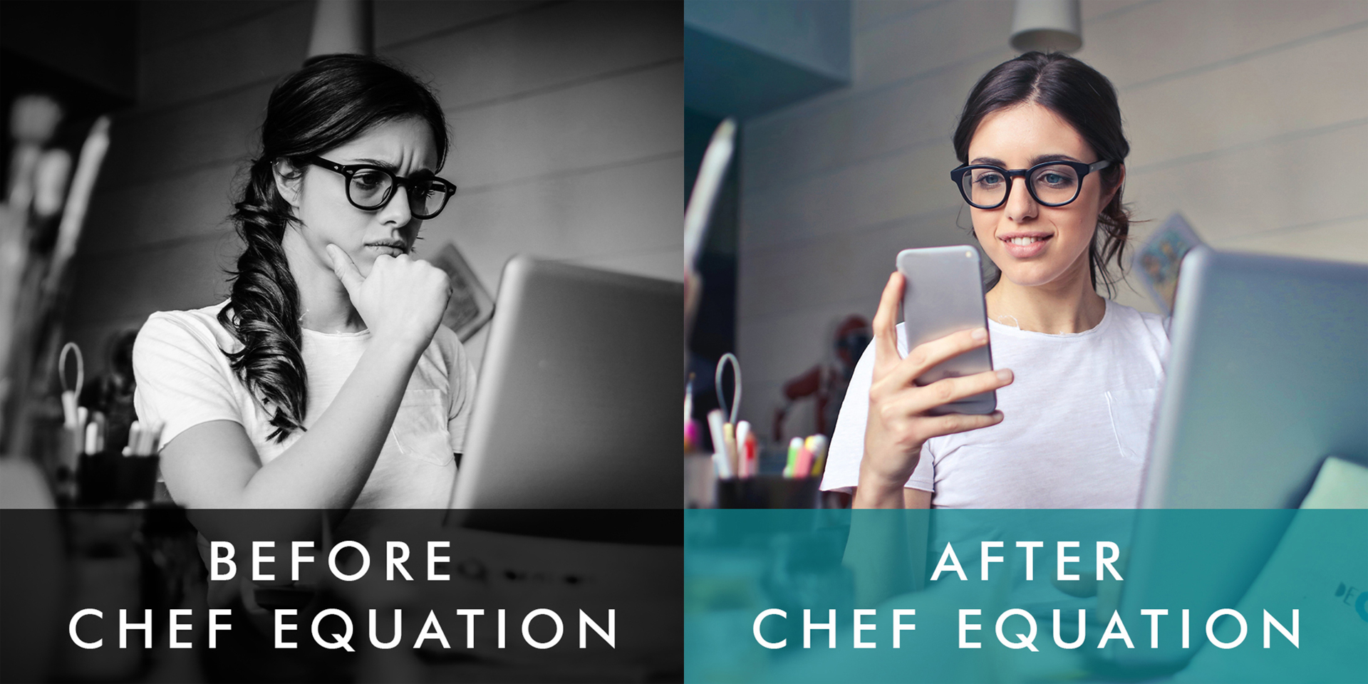 Before ChefEquation. After ChefEquation.