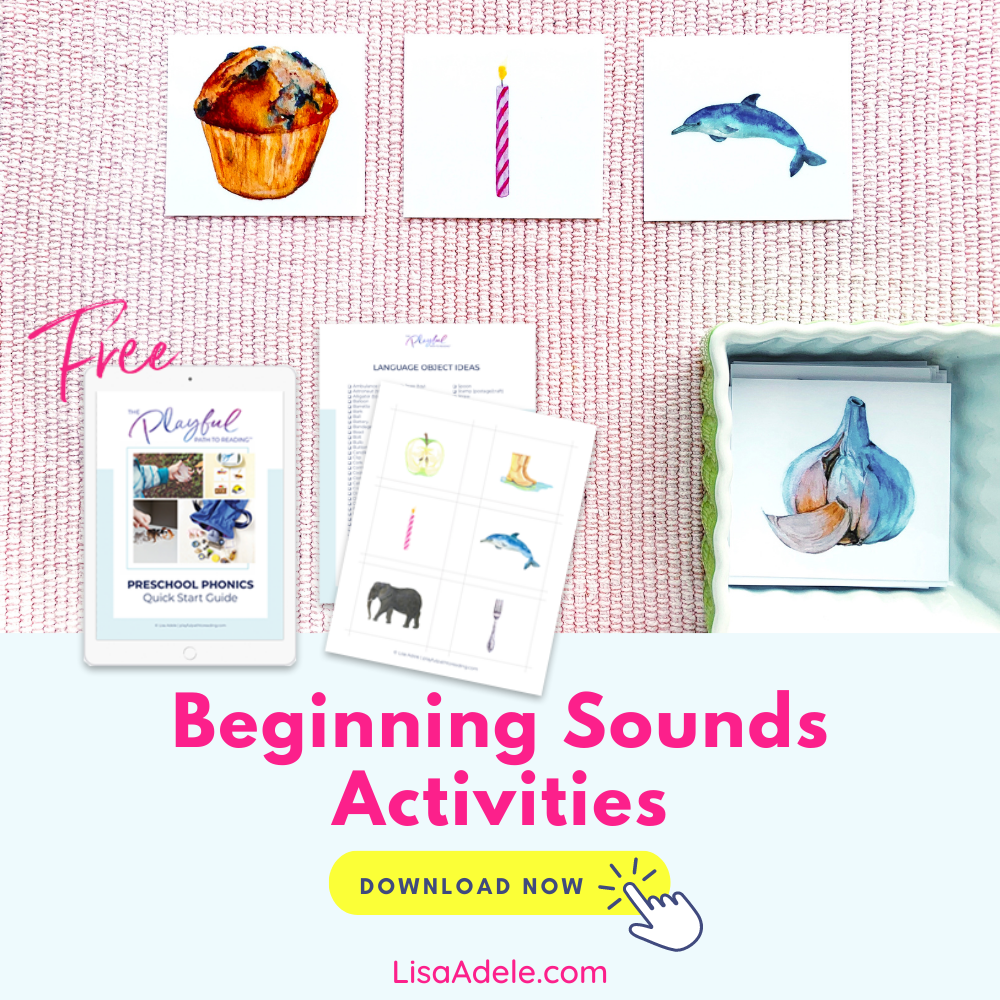 Free Beginning Sounds Letter Sounds Picture Cards and Preschool Phonics Guide
