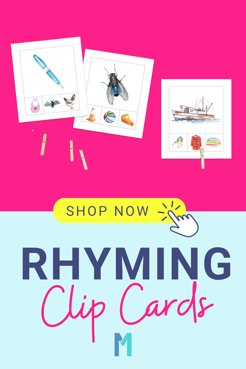 Rhyming Words Clip Cards Printable Activities