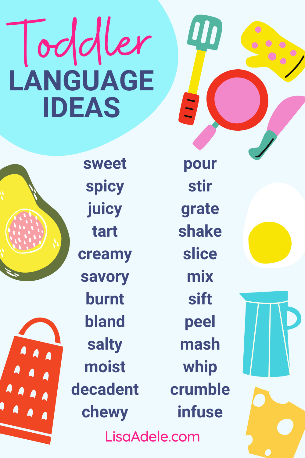 Words to Boost Toddler Language during Cooking Activities or at Mealtime