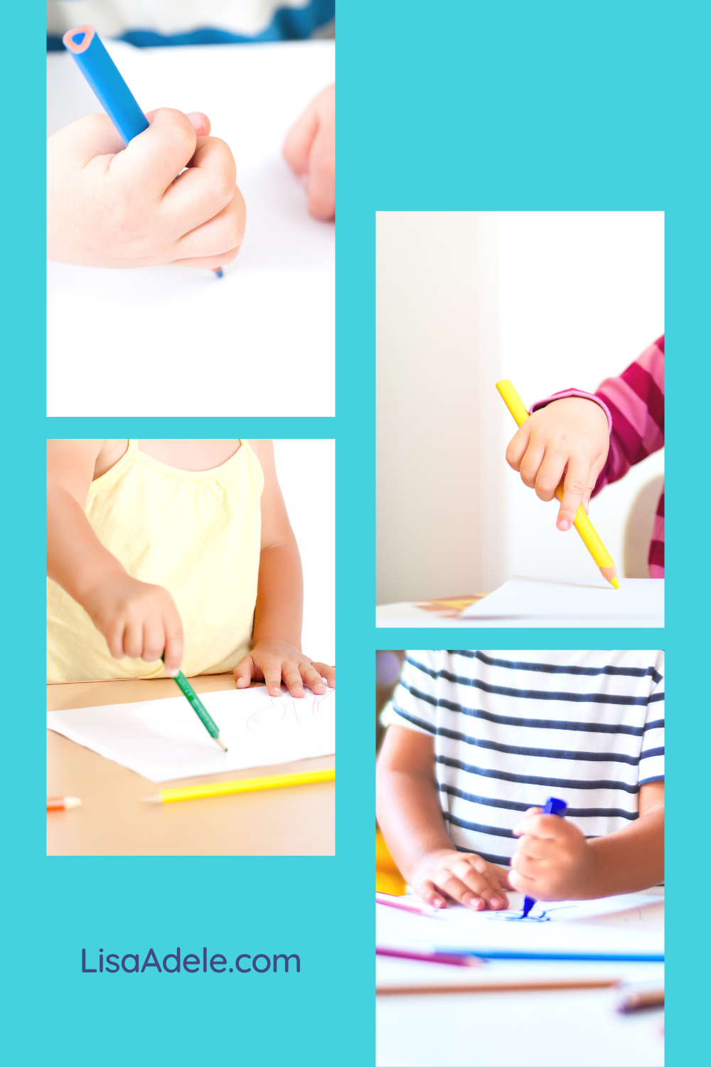 Toddlers and preschool kids working on pencil grasp while scribbling as pre-writing activity