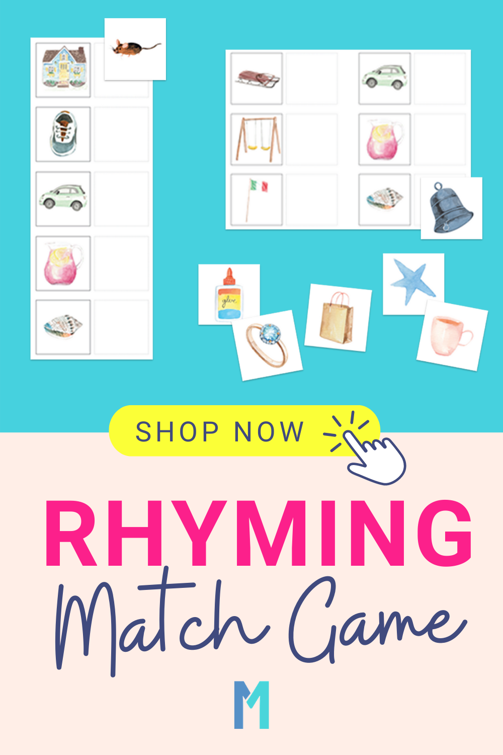 Rhyming Words Matching Game Printable for Pre-K