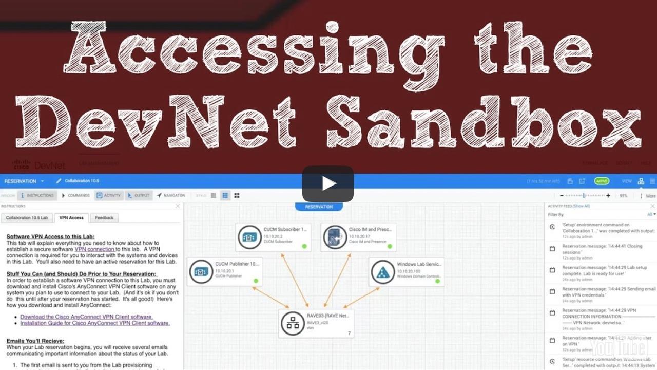 Accessing The Cisco Devnet Sandbox