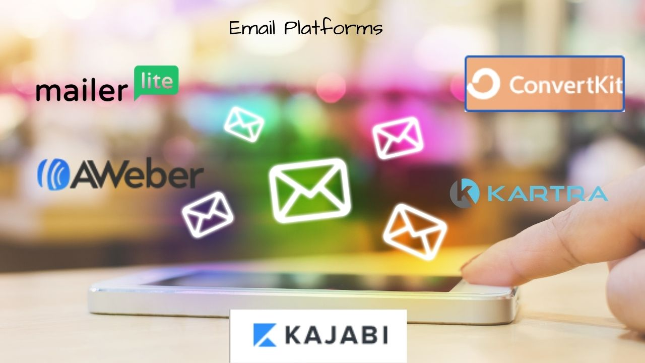 cell phone with email platforms and email icons